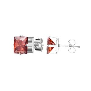 Jewelry - Ruby Red Square 7mm CZ Stud Earrings